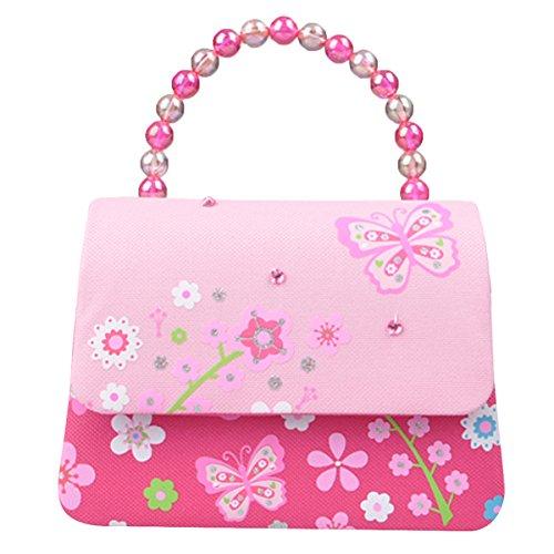 Happy Cherry Klein Mädchen Tasche Prinzessin Tasche Kinder Umhängetasche PU Leder Handtasche mit Blumen Druck Kindertasche Pailletten Größe 16.2 x 6 x 12.5 CM - Rose