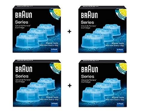 Braun–Pack 12Stück-Reinigungsflüssigkeit für System Clean & Renew–CCR3X4
