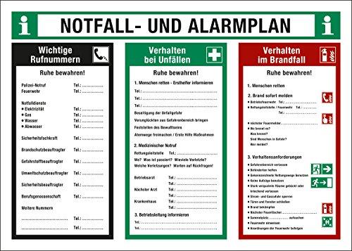 Notfall- und Alarmplan, Verhalten bei Unfällen und Verhalten im Brandfall, Schild aus Kunststoff, Betriebsaushang, 700 x 500 mm