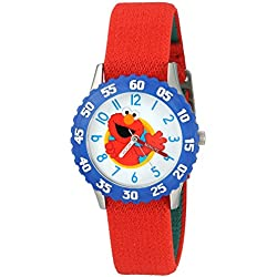 eWatchFactory Boy's 'Sesame Street' Quartz Stainless Steel and Nylon Automatic Watch, Color:Red (Model: W003171)