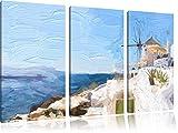 weiße Häuser in Griechenland Pinsel Effekt 3-Teiler Leinwandbild 120x80 Bild auf Leinwand, XXL riesige Bilder fertig gerahmt mit Keilrahmen, Kunstdruck auf Wandbild mit Rahmen, gänstiger als Gemälde oder Ölbild, kein Poster oder Plakat