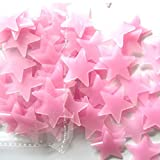 ZycShang 100PC Kids Bedroom Fluorescent Glow In The Dark Stars Wall Stickers (Pink)