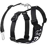 Pawaboo Cinturón De Seguridad de Perro - Adjustable Vest / Malla Harness Car Safety para Mascota Chaleco de Correa con Seat Belt Lead Clip de Coche, Adecuado para Perros de 33 LBS - 55 LBS, Azul Marino & Blanco