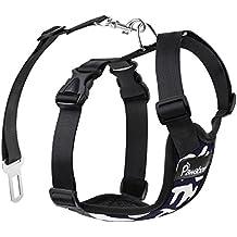 Pawaboo Cinturón De Seguridad de Perro - Adjustable Vest / Malla Harness Car Safety para Mascota Chaleco de Correa con Seat Belt Lead Clip de Coche, Adecuado para Perros de 11 LBS - 33 LBS, Talla M, Azul Marino & Blanco