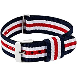 """RE:CRON women wristband watch nylon with stainless steel clasp 18 mm 0.71"""" wide compatible with Daniel Wellington watches - dark blue white red"""