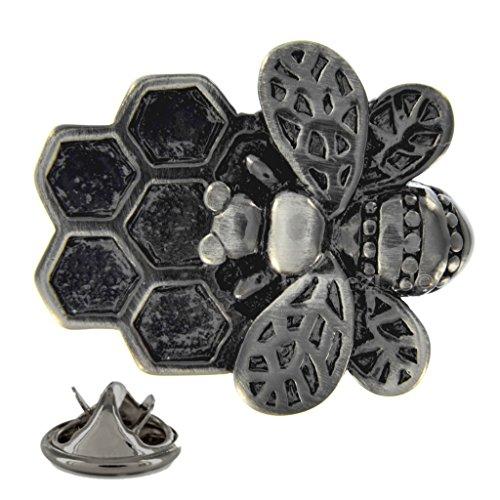 1StopShops Biene auf Honeycomb gebürstet Metall-Pin Badge