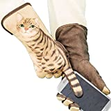 1pair Frauen Warm Smart-Touch-Screen-Handschuhe Windundurchlässig Driving Handschuhe Winter Dicke Handschuhe Naturgetreue Cat Wildlederhandschuhe (Kaffee)