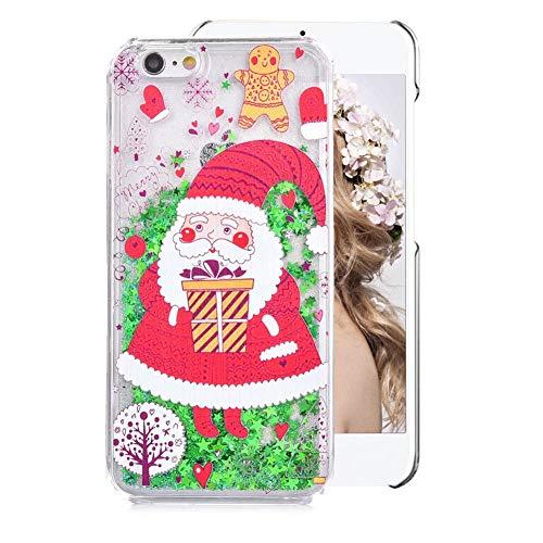Hart Hülle für iPhone 8,Glitzer Handyhülle für iPhone 7,Moiky Luxus Lustige Weihnachtsmann Muster 3D Sterne Treibsand Crystal Weich TPU Schwebend Stoßfest Kratzfeste Schutzhülle