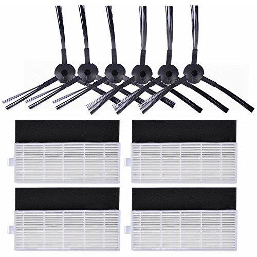 KEEPOW 10 Stück Ersatzteile für ILIFE A4s A6, A4 Saugroboter, 6 Seitenbürsten + 4 Filter