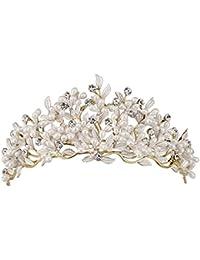 Tiara de novia HerZii de aleación, estilo retro, con diamantes sintéticos y hojas