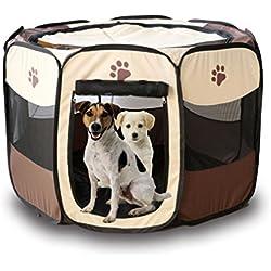 lidahaotin Tente Pet Portable Pliant pour Chien Cage Maison Chien Chat Tente clôture Chiot Kenneles extérieur Lit Brun + Blanc 73 * 73 * 43cm