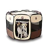 Babysbreath17 Portátil Carpa plegable para mascotas Dog House jaula del gato de casa de perro Tienda de campaña Valla cama del perrito Kenneles al aire libre marrón + blanco 73*73*43cm
