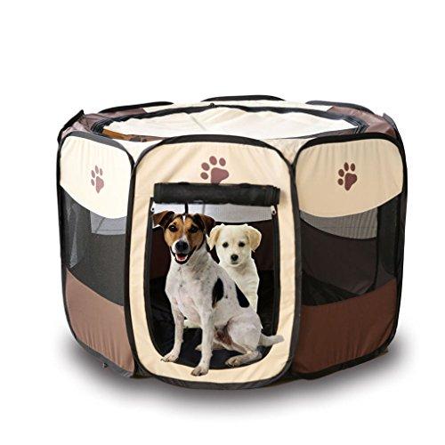 Babysbreath17 Portátil Carpa plegable para mascotas Dog House jaula del gato de casa de perro Tienda de campaña Valla cama del perrito Kenneles al aire libre marrón + blanco 91*91*58cm