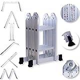Masko® 6in1 Mehrzweckleiter 2.33M ALU Anlegeleiter Klappleiter Stehleiter Aluminium Modell: 4 x 2 Stufen