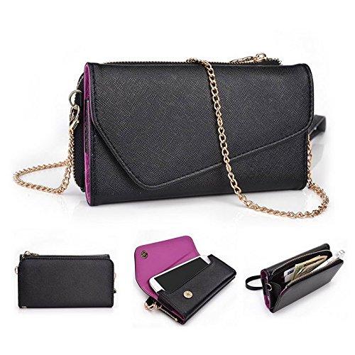 Kroo d'embrayage portefeuille avec dragonne et sangle bandoulière pour Xolo Q1010/Q1200 Multicolore - Black and Violet Multicolore - Black and Violet
