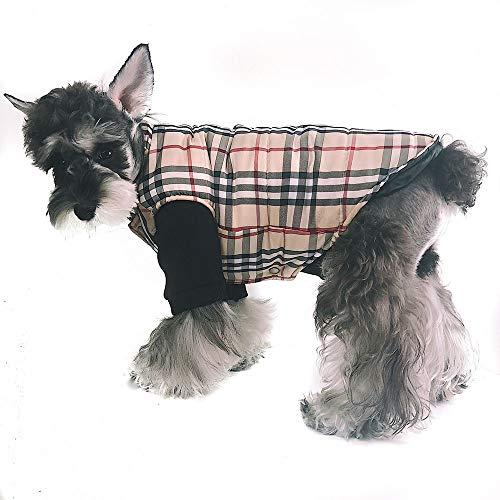 Yzibei Pullover Hund Hund Jacke Wasserdicht Mantel Winddicht Haustier Weste Warme Puppy Kleidung Reversible Britischen Stil Plaid Winter Mäntel Kaltes Wetter Jacken Kleidung für Hunde (Größe : L) -