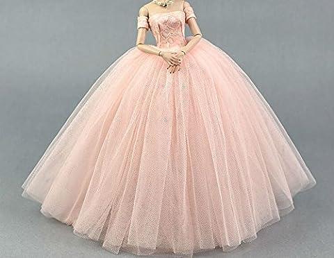 BU-02 Schöne und modische handgefertigte elegante schöne Hochzeit Abend-Partei-Kleid für Barbie Puppe(Puppen nicht im Lieferumfang enthalten) (Rose 3)