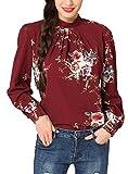 Abollria Tunika Damen Elegant Bluse mit Blumen Musterprint luftig leichte Sommer Bluse Lamgarm Chic perfekt für Herbst und Frühling