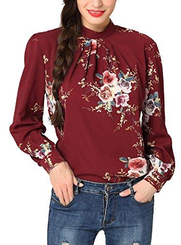 Abollria Tunika Damen Elegant Bluse mit Blumen Musterprint Luftig Leichte Sommer Bluse Lamgarm Chic Perfekt für Herbst und Frühling (Front-print-bluse)