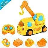 Yixintoy Kunststoff Spielzeugauto 5 in 1 LKW Spielzeug für Kinder ab 1 bis 3 Jahren, RC Fahrzeuge Auto Spielzeug Baufahrzeuge Spielzeug mit Musik und Licht Geschenk für Kinder