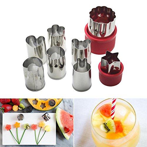 niceEshop(TM) Vegetable Cutter Shapes Set,Kids Mini Cookie Cutters Fruit Mold Presses Stamps Set (Including 1 Flower and 7 Cartoons)