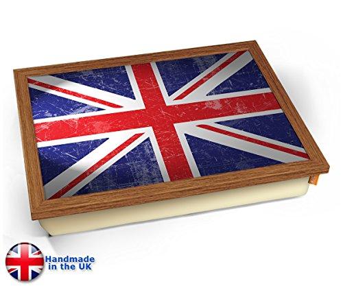 Union Jack Flag UK United Kingdom Cushion Lap Tray Kissen Tablett Knietablett Kissentablett - Holz Effekt Rahmen -