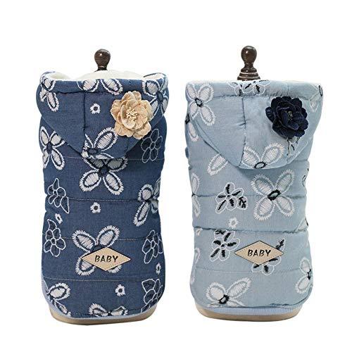 Etophigh Hund Hoodie Pet Kleine Baumwolle Padded Cowboy Kleidung mit Blumen Muster für kleine und mittlere Hunde Mädchen