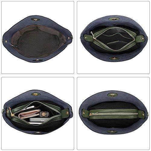 S-ZONE Sacchetto di spalla del Crossbody del sacchetto della borsa della borsa della borsa della pelle bovina delle donne di (viola) Dark Green