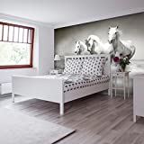 PVC Fototapete – ECO Wandbild Selbstklebende Tapete – 3D Vinyl Wandsticker - Weiße Pferde SW020(100x70CM)