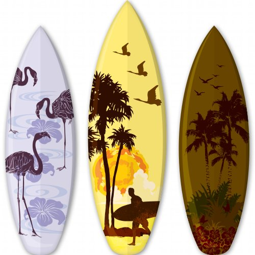 Surfboards Tropical Set of 3 Vinyl Sticker - 6-Inch - 738-stick