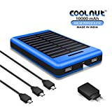 COOLNUT CMSPBS-19 Solar Power Bank 10000mAh with Solar Panel, Portable Mobile Charger Blue (Made In India)