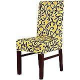 lixinsunbu elástico extraíble corto silla de comedor asiento Protector de funda protectora, tela, Amarillo, mediano