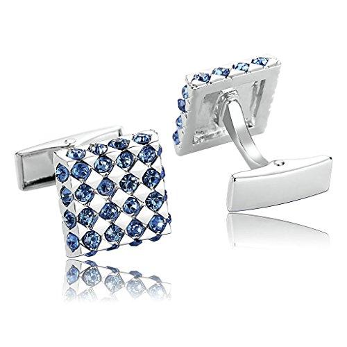 AnaZoz Joyería de Moda 1 Par Gemelos de Hombre Acero Inoxidable Forma Cuadrada Cubic Zirconia Color Plata Azul Gemelos Para Hombre