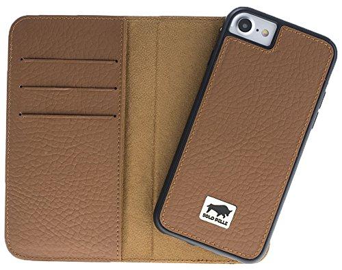 Solo Pelle Iphone 7 / 8 abnehmbare Lederhülle (2in1) inkl. Kartenfächer für das original Iphone 7 / 8 ( Kroko-Rot ohne Öffnung für das Apple Logo ) inkl. Edler Geschenkverpackung Floater-Braun