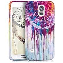 kwmobile FUNDA de TPU silicona para Samsung Galaxy S5 / S5 Neo / S5 LTE+ / S5 Duos Diseño atrapasueños en acuarela multicolor rosa fucsia blanco - Estilosa funda de diseño de TPU blando de alta calidad