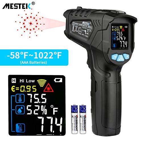 Infrarot Thermometer MESTEK Temperaturmessgerät IR Pyrometer Laser Digital Thermometer -50°C bis 550°C Berührungslos mit Farbe lcd Alarmfunktion Einstellbarer Emissionsgrad Küche Drinnen/Draußen