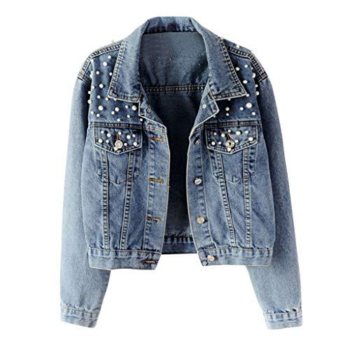 Herbst und Winterpullover Sweatshirt von Hemed Damen Blue Long Sleeve Denim Jacke Pocket Perlen Short Outwear Coat blau S