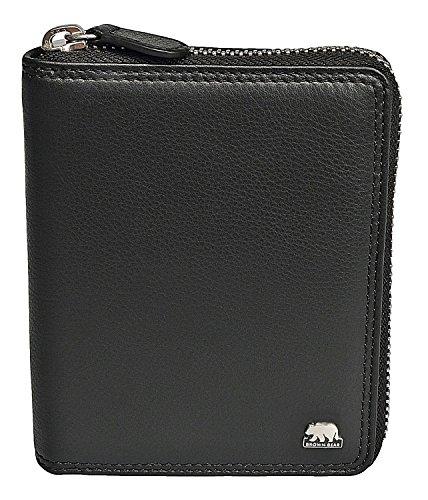 Brown Bear Geldbörse Leder Schwarz Reißverschluss RFID Schutz hochwertig Doppelnaht Damen Geldbeutel Herren Portemonnaie Frauen Portmonee Männer Portmonaise (Zip-geldbörse)