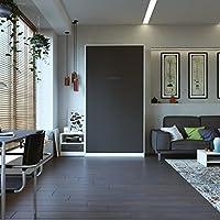 SMARTBett Schrankbett 90x200 Vertikal Weiß/Anthrazit mit Gasdruckfedern ohne Matratze Bettschrank Wandbett Klappbett