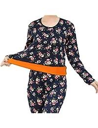 Conjuntos térmicos Mujer Pijamas Invierno Interior Caliente Algodon Ropa Interior de Flores