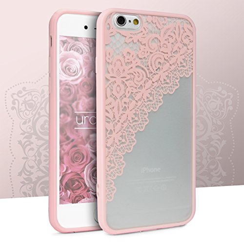 Urcover® Apple iPhone 6 / 6s Garngeflecht Muster in Rosa | Lace Hard Spitzen Case | TPU Bumper & Kunststoff Rückseite | elegant Schutz-Hülle Case Smartphone Zubehör Cover Tasche Rosa