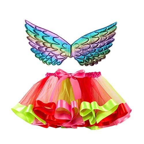 TEBAISE Tüllrock Kinder Mädchen Karnevalskostüme Thema Party Cosplay Kostüm Flügel und Tutu Rock Unterrock Tiered Mesh Tütü Pettirock Bowknot Prinzessin Ballettrock für Weihnachten Geburtstagsfeier