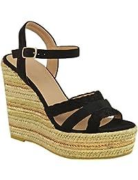 Sandales à talons compensés - style espadrille/talons dorés métallisés - femme
