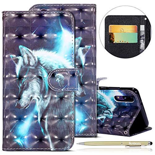 Kompatibel mit Huawei P20 Lederhülle Glitzer 3D Glänzend Hülle Ultradünn Leder Tasche Klappbar Schutzhülle Flip Case Cover Handytaschen mit Kartenfach,Wolf