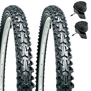 """CST Eiger Lot de 2 pneus pour VTT 26"""" x 1,95"""" + Lot de 2 chambres à air à valve Presta"""