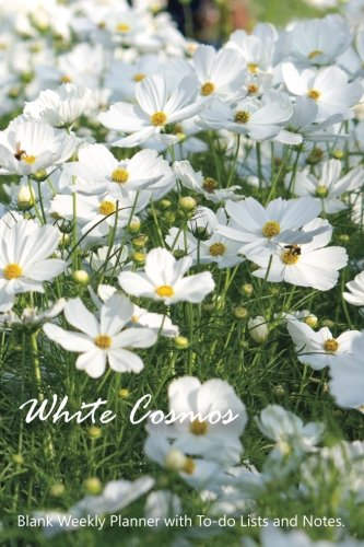 """White Cosmos: Compact 6"""" x 9"""" Blank Weekly Planner with Important Dates, Monthly Focus, Goals, and Notes for 52 weeks 110 pages"""
