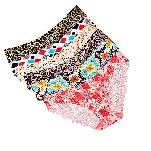 KaloryWee 6PC Culotte Femme Dentelle G-String Tanga Plaisir La Mode Hot Sexy Taille Basse sans Couture Lingerie Shorty Pyjama sous-vêtement (X-Large, Multicolore-1) (Medieum, Multicolore-1)
