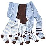 wellyou baby/kinder strumpfhosen für mädchen/jungen, babystrumpfhose/kinderstrumpfhose Hellblau/Braun 3er set gr 62-68