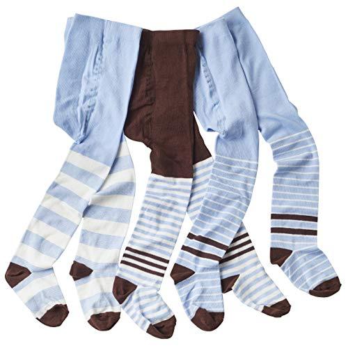 wellyou wellyou baby/kinder strumpfhosen für mädchen/jungen, babystrumpfhose/kinderstrumpfhose Hellblau/Braun 3er set gr 110-116