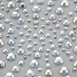 Crystals & Gems Uk 325 Self Adhesive Diamante Stick On Rhinestone Gems Vajazzle Wedding 1 - 325Pcs (AB CLEAR)